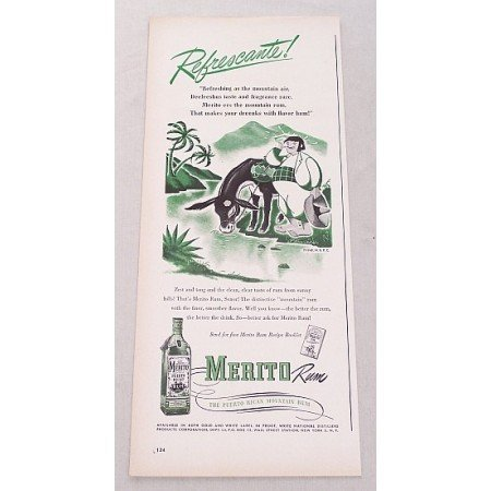 1948 Merito Puerto Rican Rum Color Print Ad - Refrescante