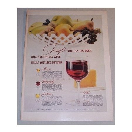 1955 California Wine Color Print Ad - Tonight You Can Discover