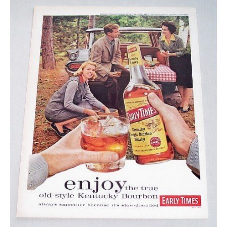 1960 Early Times Whiskey Outdoor Tailgating Picnic Print Color Ad