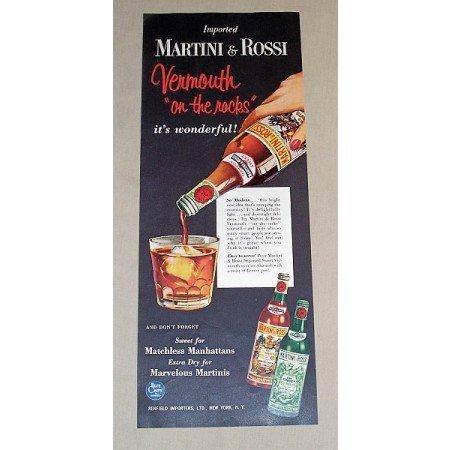 1954 Martini Rossi Vermouth Color Print Ad