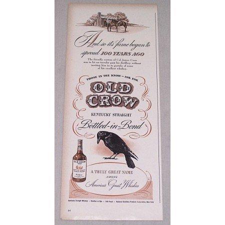 1946 Old Crow Bourbon Whiskey Print Ad