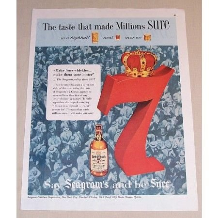 1954 Seagram's 7 Whiskey Color Print Ad
