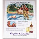 1944 Seagram's Whisky Whiskey Fly Fishing Winslow Art Color Print Ad