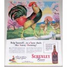 1944 Schenley Whiskey Rooster Art Color Print Ad - Help Yourself