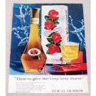 1956 Four Roses Whiskey Decanter Color Christmas Print Ad