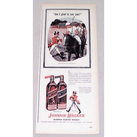 1946 Johnnie Walker Scotch Whiskey Polo Art Color Print Ad