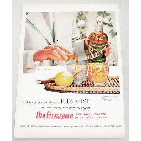 1956 Old Fitzgerald Whiskey Color Print Ad - FITZ' MIST