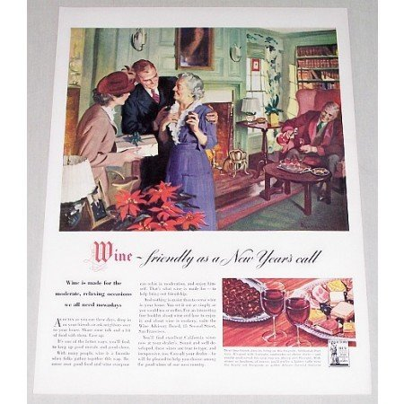 1947 Wine Color Art Print Ad - Friendly As A New Year's Call