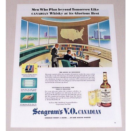 1945 Seagram's Whiskey Color Art Print Ad - Office Of Tommorow