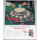 1948 Four Roses Blended Whiskey Silver Punchbowl Color Print Ad