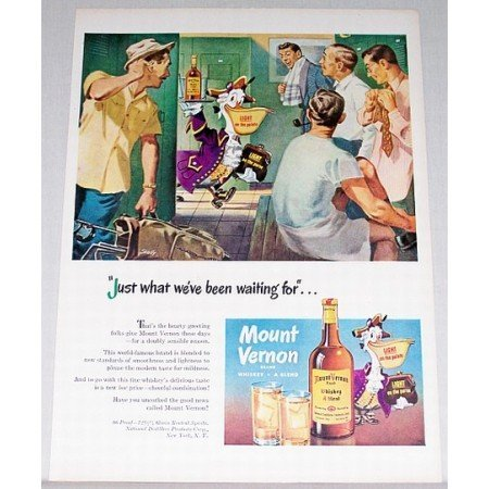 1948 Mount Vernon Whiskey Skelly Golf Pelican Art Color Print Ad