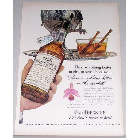 1948 Old Forester Bourbon Whiskey Art Color Print Ad - To Give To Serve