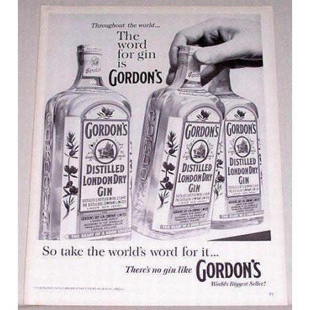 1960 Gordon's Distilled London Dry Gin Print Ad