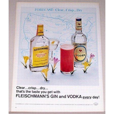 1965 Fleischmann's Gin Vodka Color Print Ad - Clear Crisp Dry