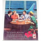 1962 Four Roses Whiskey American Airlines Jet Color Print Ad
