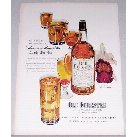 1948 Old Forester Bourbon Whiskey Color Print Ad