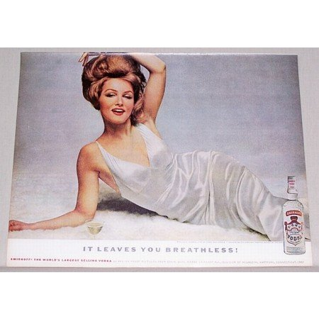 1962 Smirnoff Vodka Color Print Ad Celebrity Julie Newmar