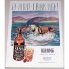 1944 King Black Label Whiskey Horse Animal Chase Art Color Print Ad