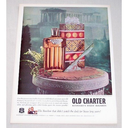 1960 Old Charter Bourbon Whiskey Sun Dial Athens Parthenon Color Print Ad