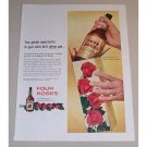 1954 Four Roses Whiskey Color Print Ad - Golden Opportunity