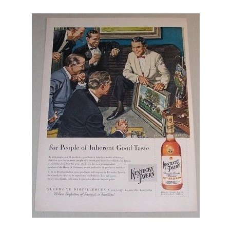 1955 Kentucky Tavern Whiskey Color Art Print Ad - For People Of Inherent Good Taste