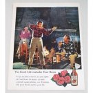 1960 Four Roses Whiskey Hunting Lodge Color Print Ad