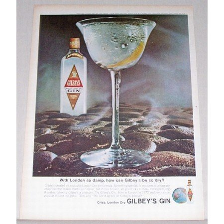 1964 Gilbey's London Dry Gin Color Print Ad - London So Damp
