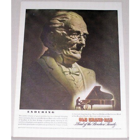 1945 Old Grand Dad Bourbon Whiskey Color Print Ad