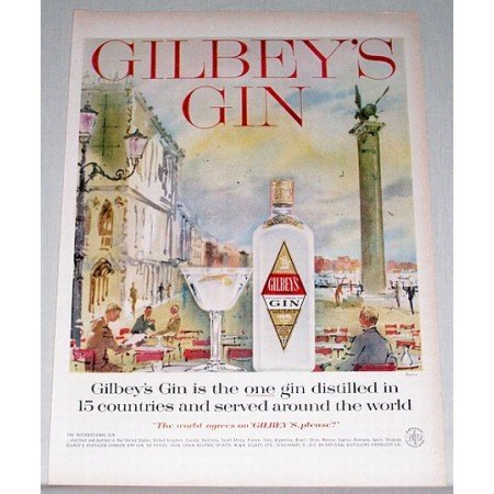 1958 Gilbey's Dry Gin Venice Art Color Print Ad