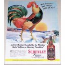 1944 Schenley Whiskey Winter Scene Rooster Art Color Print Ad