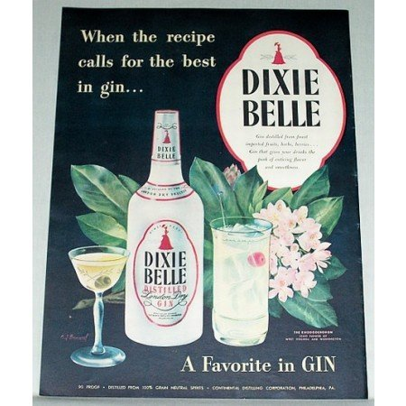 1948 Dixie Bell London Dry Gin Color Print Ad