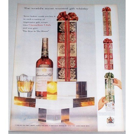 1958 Canadian Club Whisky Color Print Whiskey Ad - Best in the House