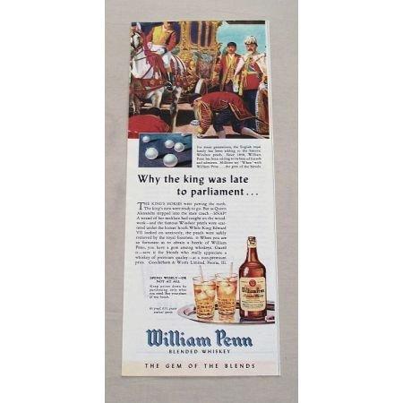 1944 William Penn Blended Whiskey Color Print Ad