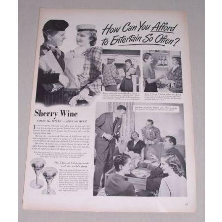 1949 Wines of California Sherry Wine Print Ad