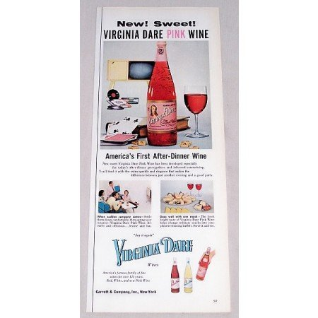 1956 Virginia Dare Pink Wine Color Print Ad