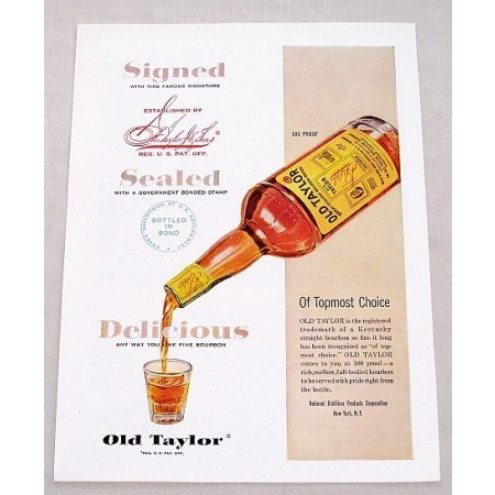 1949 Old Taylor Whiskey Color Print Ad - Topmost Choice