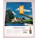 1947 Four Roses Whiskey Swimming Pool Art Color Print Ad - Springboard To Coolness