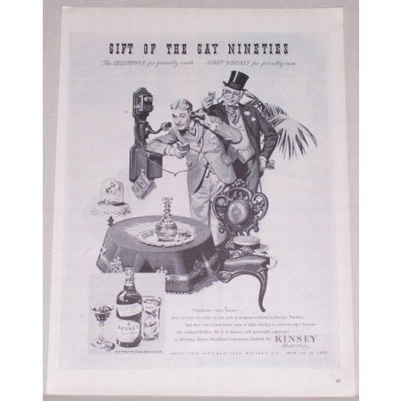 1944 Kinsey Blended Whiskey Print Ad - Talking On Wall Phone