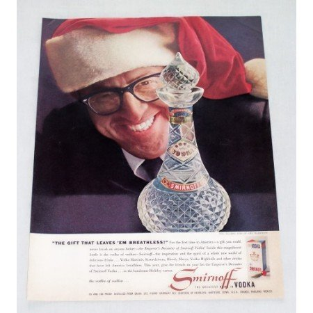 1956 Smirnoff Vodka Decanter Color Print Ad Celebrity Phil Silvers