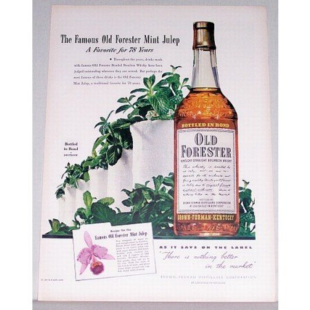 1948 Old Forester Bourbon Whiskey Color Print Ad - Mint Julep