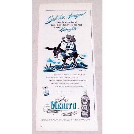 1946 Ron Merito Puerto Rican Rum Print Ad - Saludos Amigos