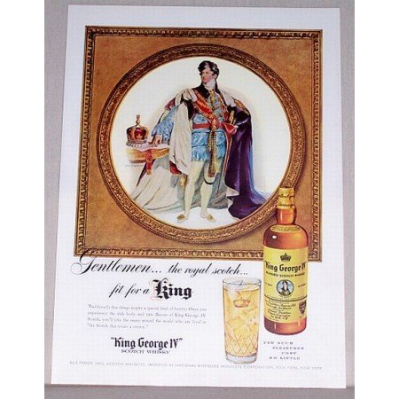 1955 King George Scotch Whiskey Royal Scotch Color Print Ad
