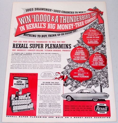 1961 Rexall Stores Ford Thunderbird Sweepstakes Color Print Ad