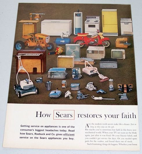 1961 Sears Stores Products Tools Appliances 2 Page Color Print Ad