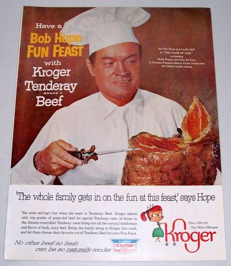 1960 Kroger Grocery Tenderay Beef Color Print Ad Celebrity Bobe Hope