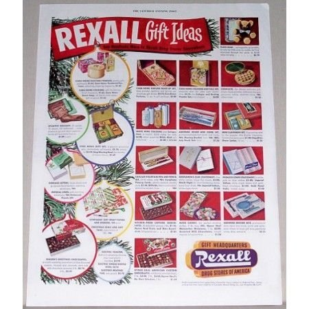 1951 Rexall Drug Gift Ideas Color Print Ad