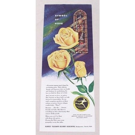 1953 FTD Florist Yellow Roses Color Print Ad