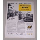 1949 Hertz Car Rental Print Ad