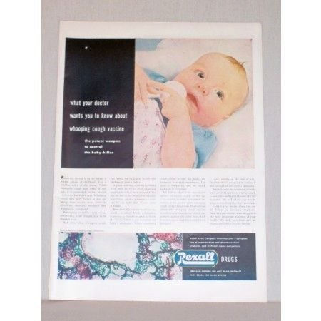 1948 Rexall Drugs Baby Color Ad - Whooping Cough Vaccine