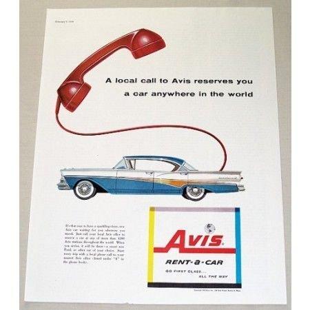 1958 Avis Rent-A-Car Color Print Ad